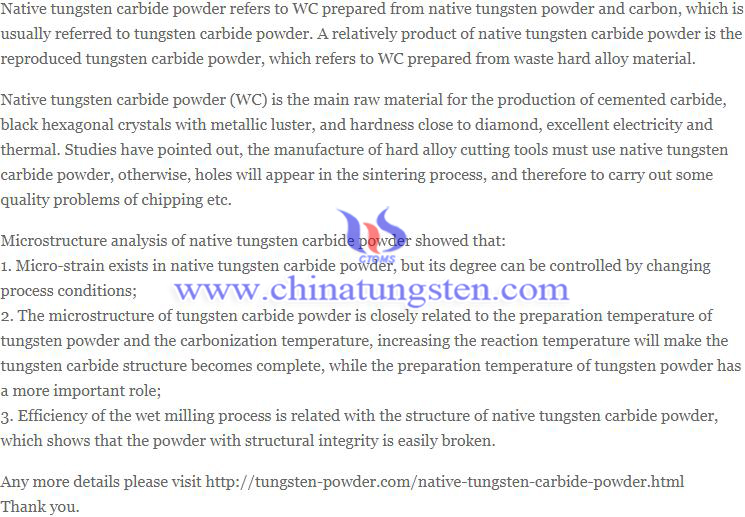 native tungsten carbide powder image