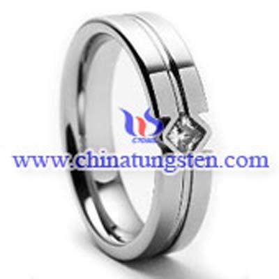 鑲鋯石鎢戒指