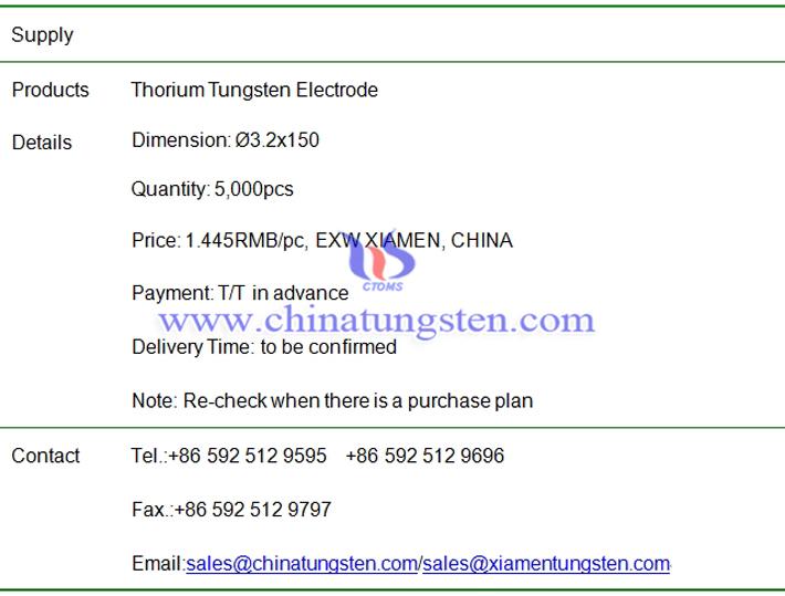 thorium tungsten electrode price image