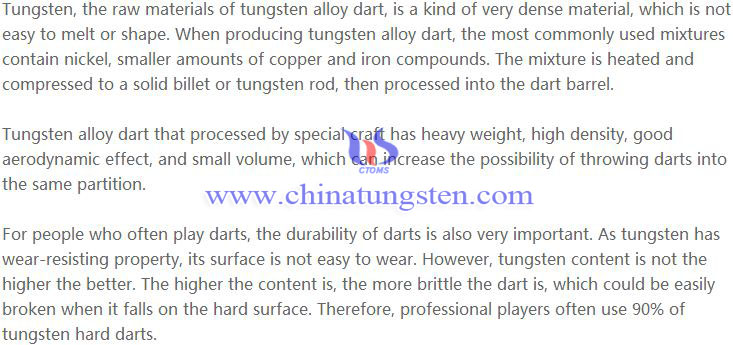 tungsten alloy dart advantages image