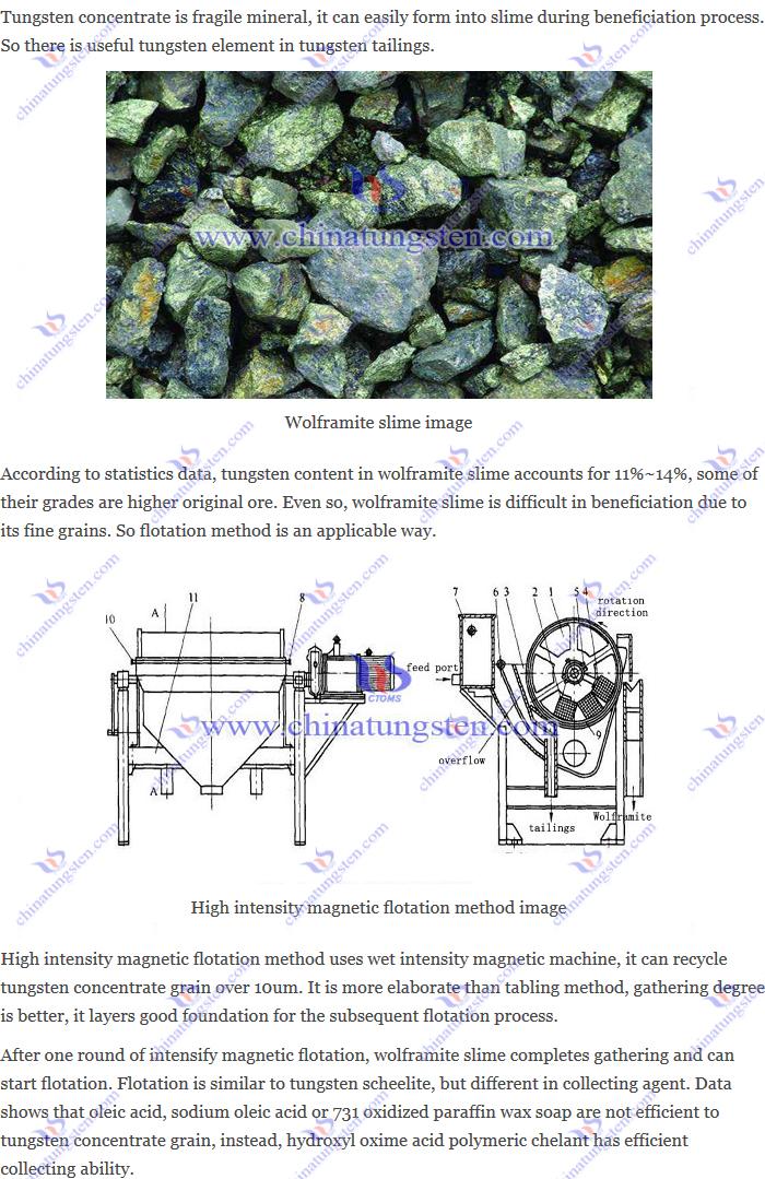 wolframite slime Recycle – high intensity magnetic flotation method image