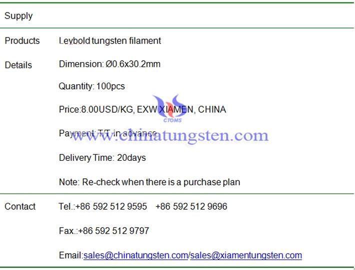 Leybold tungsten filament price image