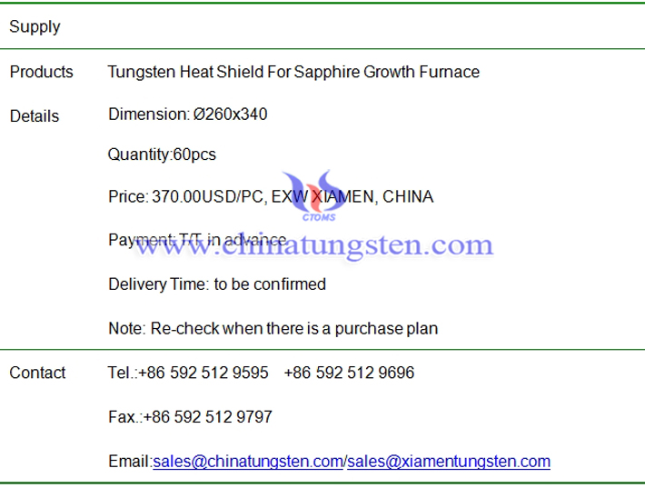tungsten heat shield price image