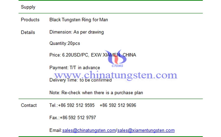 black tungsten ring price image