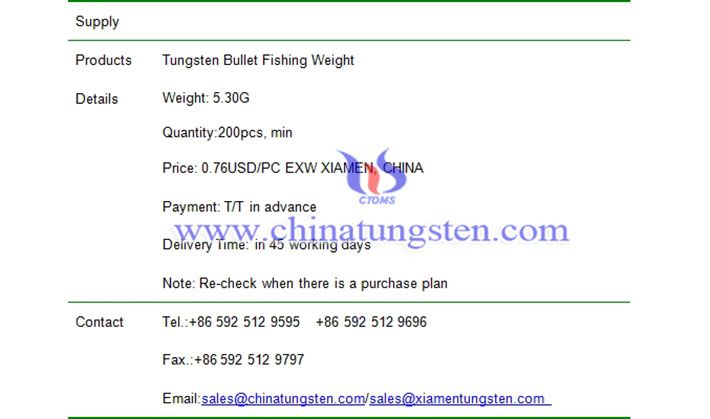 tungsten bullet fishing weight price picture