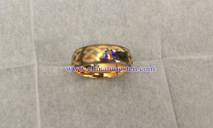 men tungsten golden ring picture