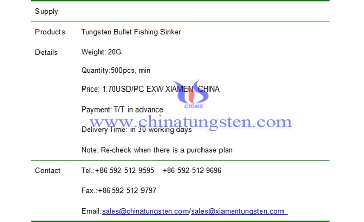 tungsten bullet fishing sinker price picture