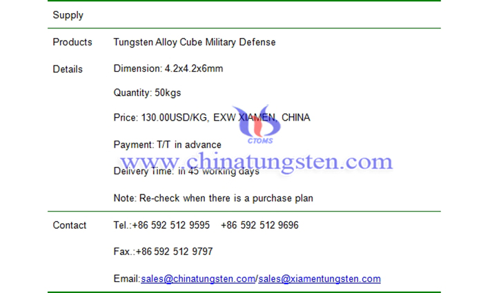 tungsten alloy cube military defense price picture