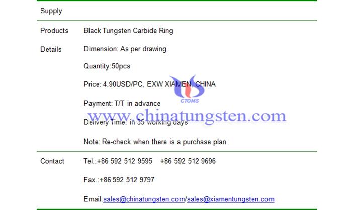 black tungsten carbide ring price picture