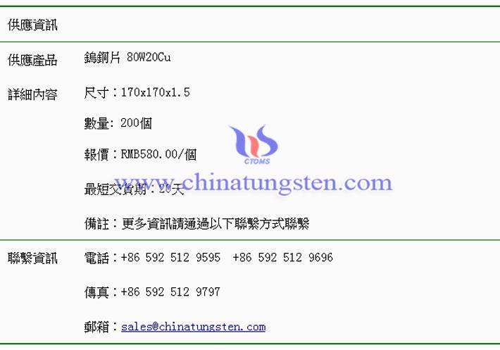 鎢銅片價格表圖片