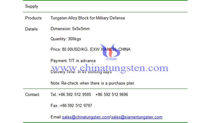 tungsten alloy block price picture