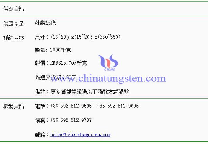 煉鋼鎢條價格表圖片
