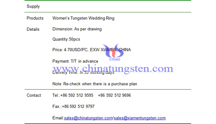 women tungsten wedding ring price picture