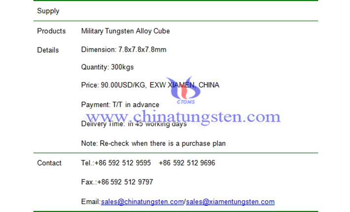 military tungsten alloy cube price picture