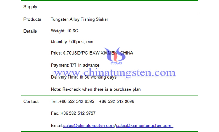 tungsten alloy fishing sinker price picture