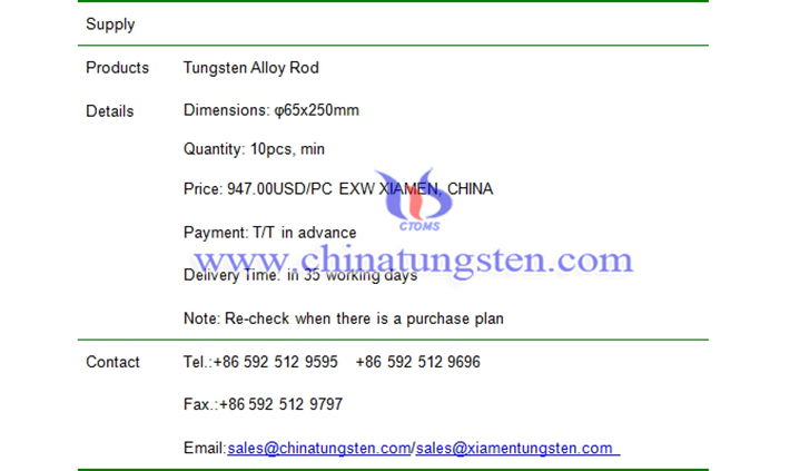 tungsten alloy rod price picture