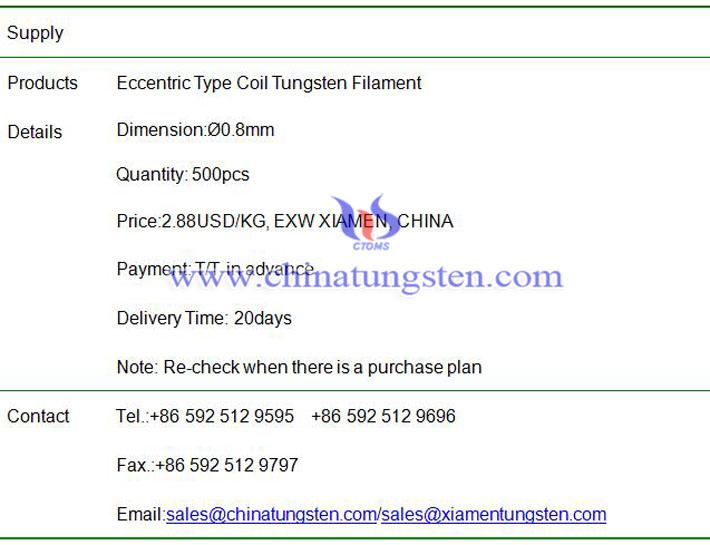 eccentric type coil tungsten filament price image