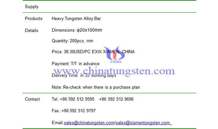 heavy tungsten alloy bar price picture