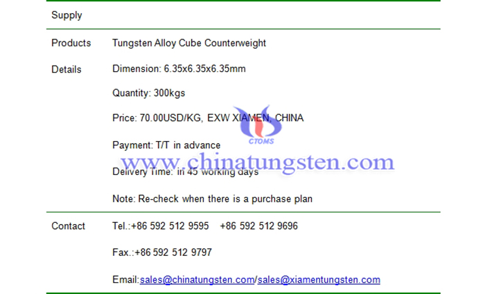 tungsten alloy cube counterweight price picture