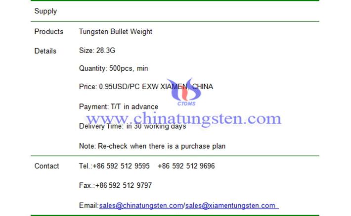 tungsten bullet weight price picture