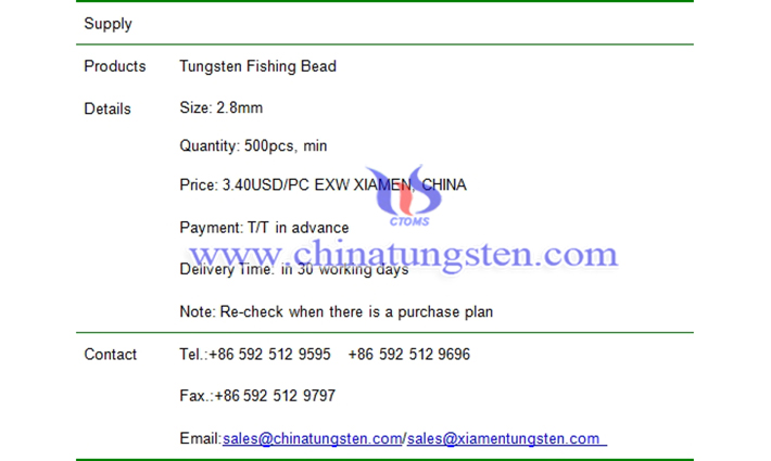 tungsten fishing bead price picture