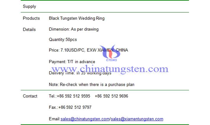 black tungsten wedding ring price picture
