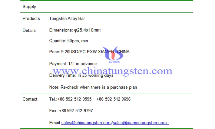 tungsten alloy bar price picture