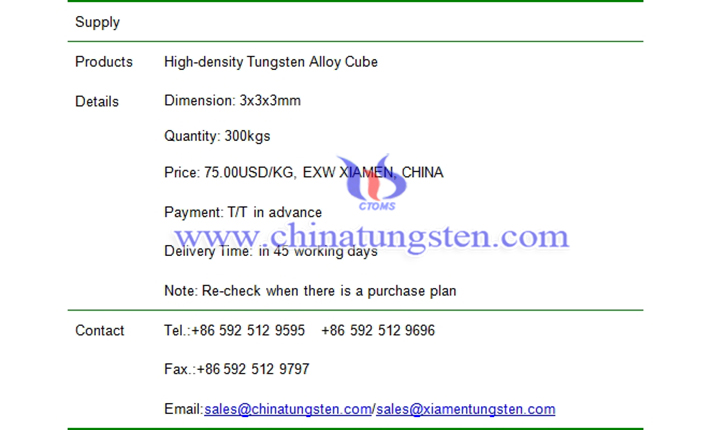 tungsten alloy cube price picture