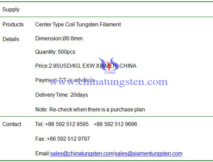 center type coil tungsten filament price image