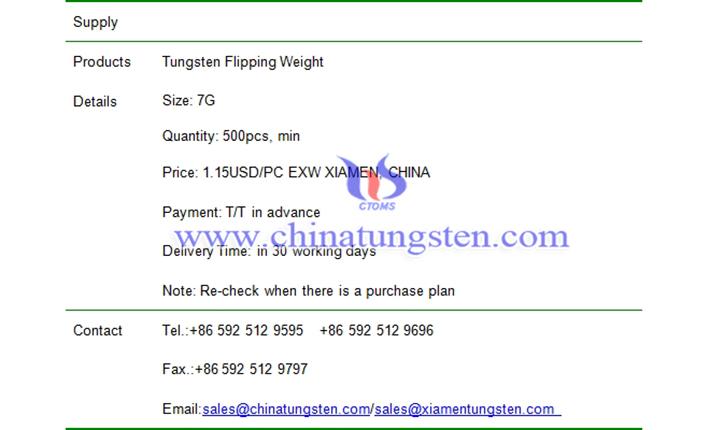 tungsten flipping weight price picture