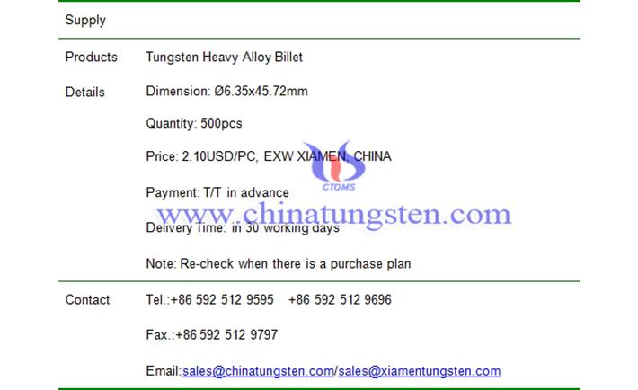 tungsten heavy alloy billet price picture