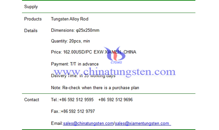 tungsten alloy rod price picture