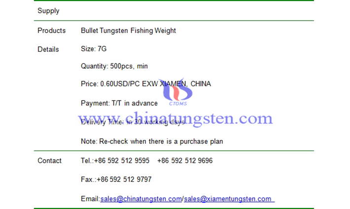 bullet tungsten fishing weight price picture