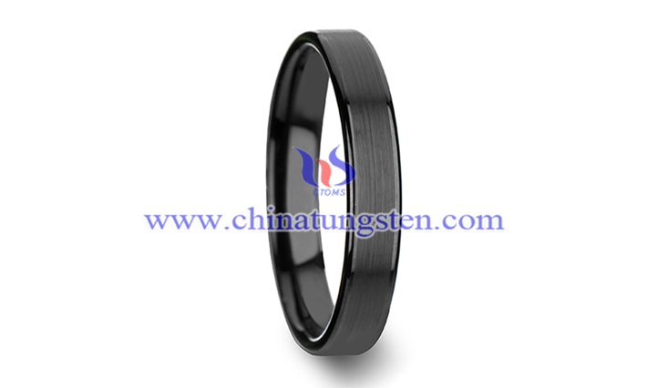 flat black tungsten carbide ring picture