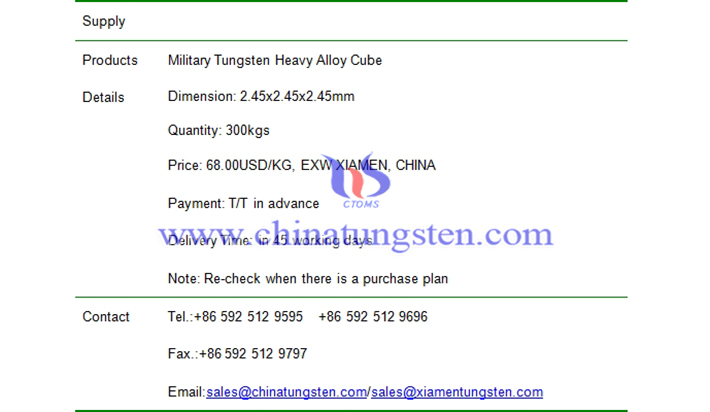 military tungsten heavy alloy cube price picture