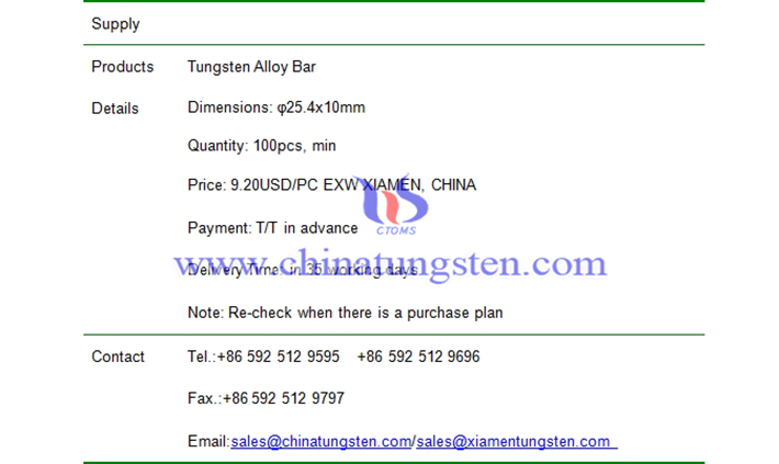 tungsten alloy bar price picture