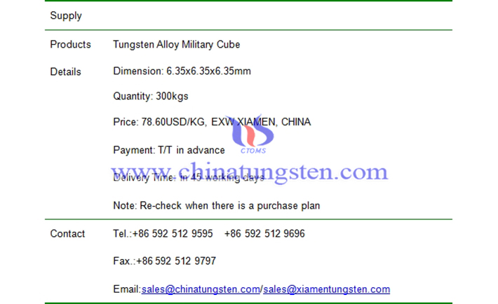 tungsten alloy military cube price picture
