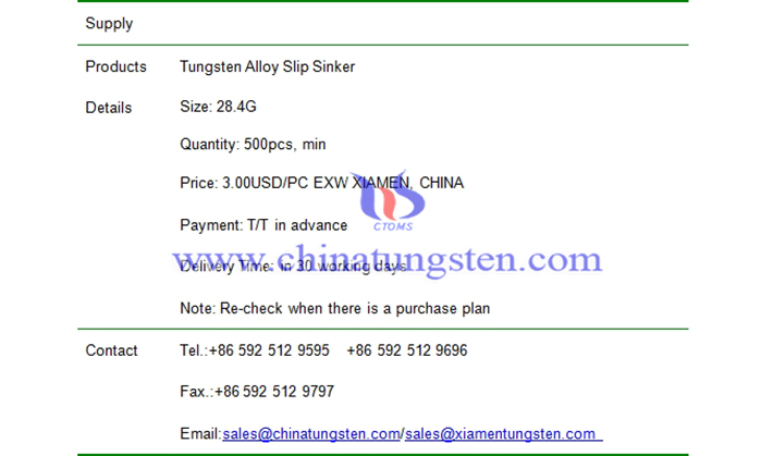 tungsten alloy slip sinker price picture