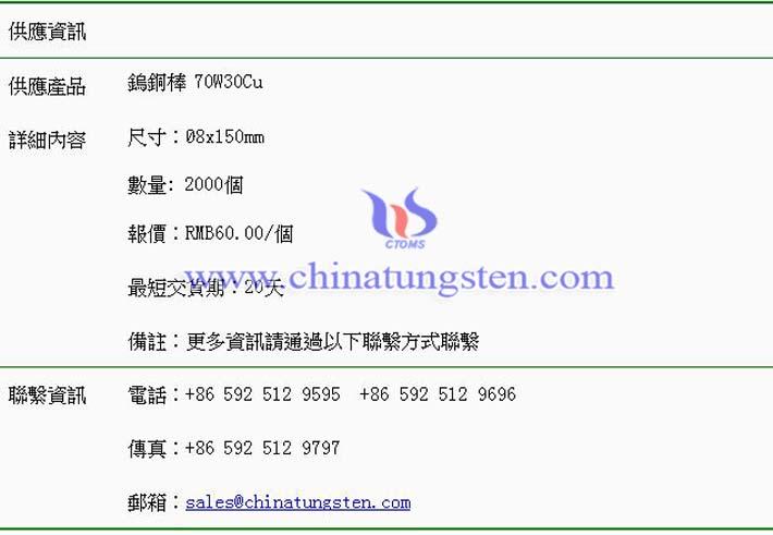鎢銅棒價格表圖片