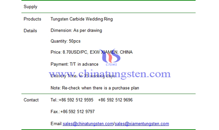 tungsten carbide wedding ring price picture
