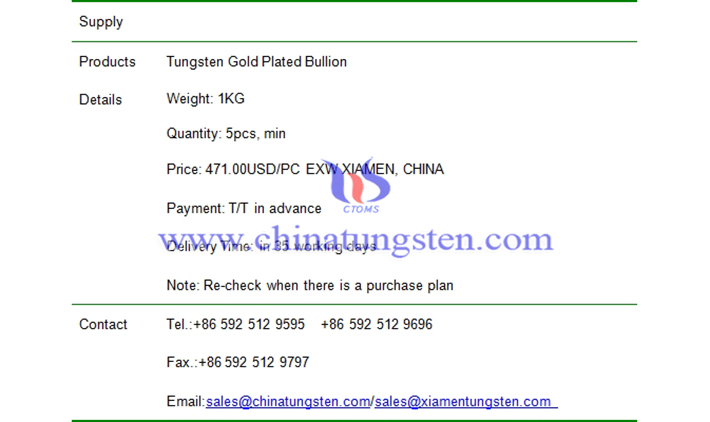 tungsten gold plated bullion price picture