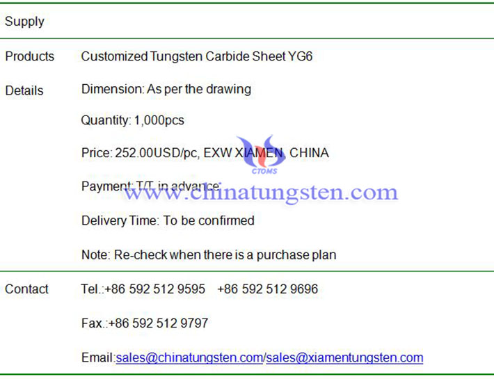 customized tungsten carbide sheet price image