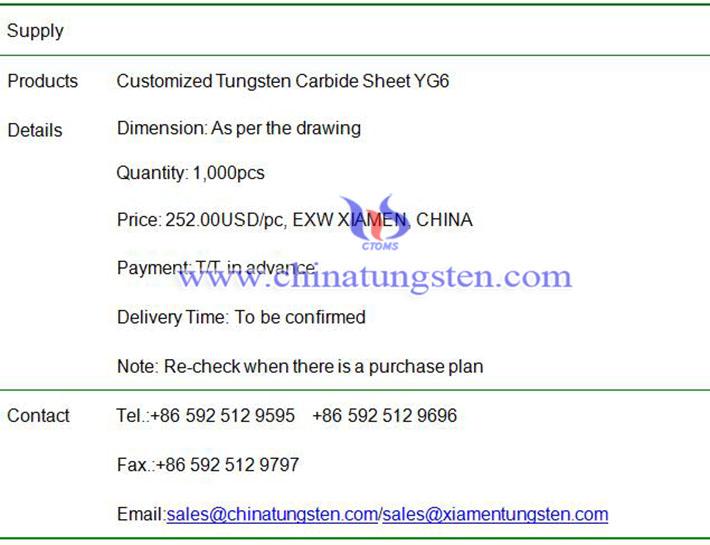 customized tungsten carbide sheet price image