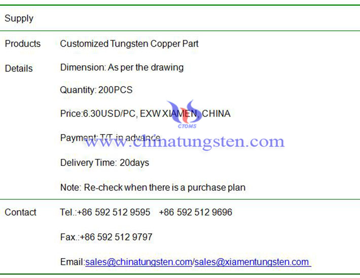 customized tungsten copper part price image