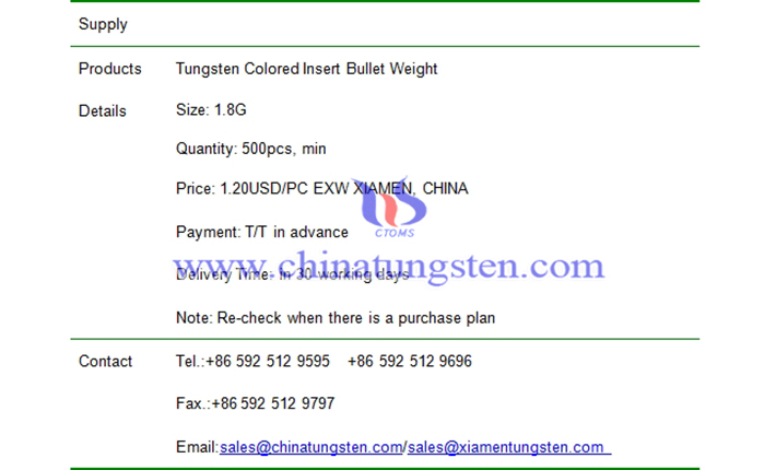 tungsten colored insert bullet weight price picture