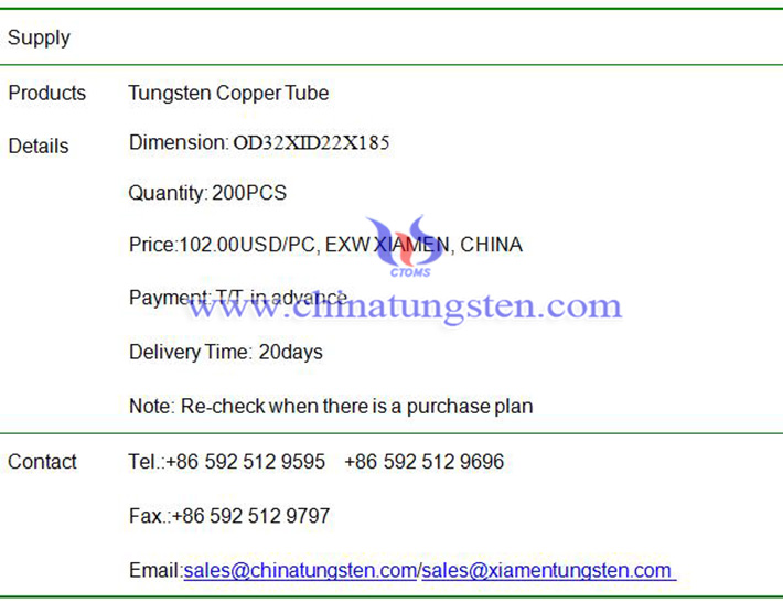 tungsten copper tube price image