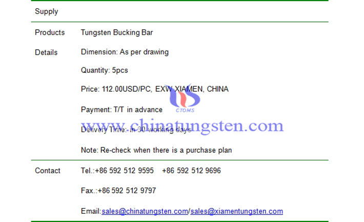 tungsten bucking bar price picture