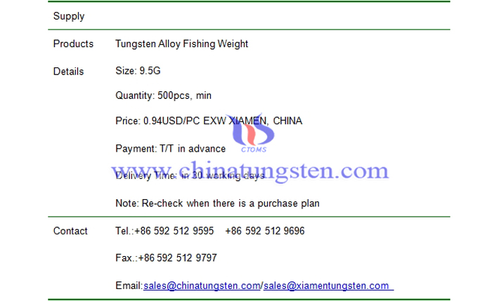 tungsten alloy fishing weight price picture