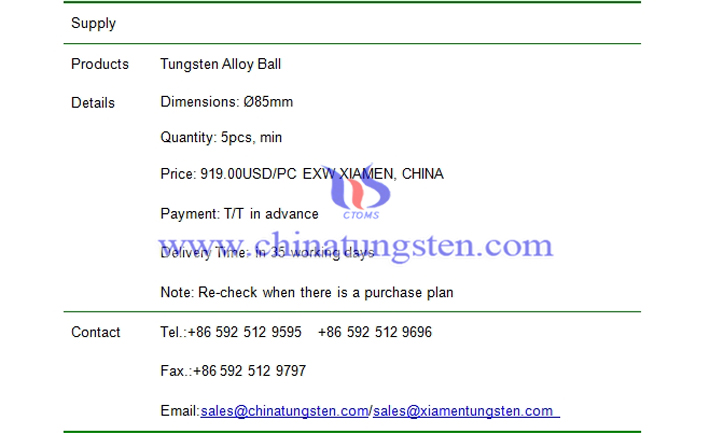 tungsten alloy ball price picture