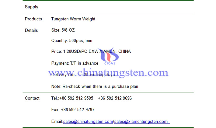 tungsten worm weight price picture